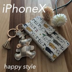 ねこ柄iPhone X手帳型iPhoneケース✨ベアホルダー付き