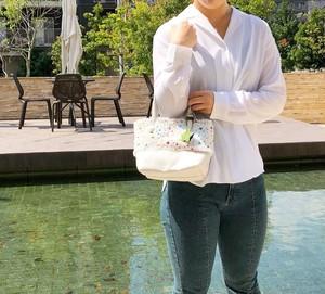 ★★星に願いを★★ ミニ トートバッグ 本革 ホワイト & ボア生地 スタープリント コンボバッグ