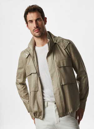 LINEN JACKET WITH REMOVABLE HOOD