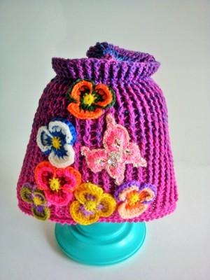 パンジーと蝶のニット帽<春夏用>