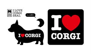 I Love Corgiステッカー[黒]