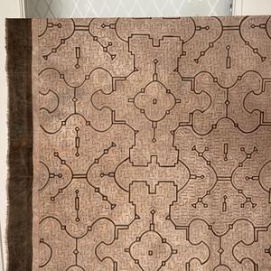 泥染め布 2中型 85x87cmピンク系ベージュ  AAA シピボ族の工芸 インテリア雑貨 タペストリー シピボ族の泥染め