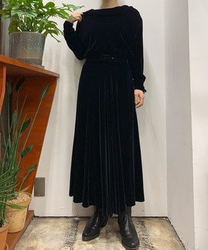Ralph Lauren MADE IN USA  velours draped neck  maxi one-piece【8】