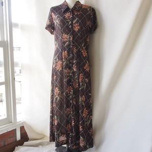 vintage flower front open long dress