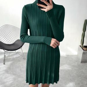 おしゃれなロングニットドレス