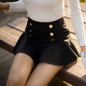 【再入荷】Button Flower Skirt (Black)