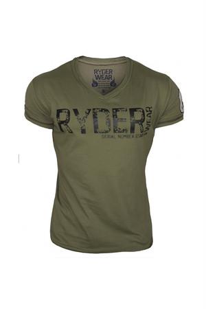 Vネック カーキ Tシャツ (RYDER WEAR)