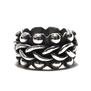 Vintage Sterling Silver Mexican Braided Beaded Design Band Ring