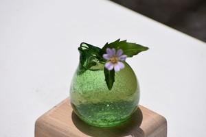 【~道草~ 一輪挿し(飾り台付)うす泡緑】