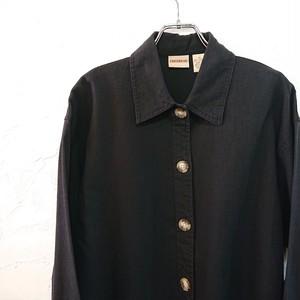 【USED】ブラック リネン ワーク ジャケット