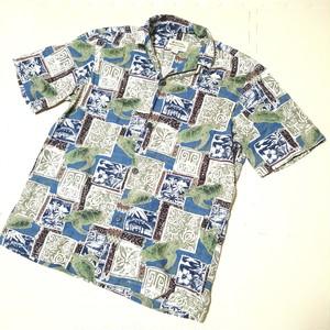 Royal Hawaiian Creations ハワイ製 南国柄 アロハシャツ 半袖 ボタンシャツ ウミガメ ヤシの木
