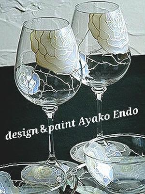 【オリジナルデザイン】ワイングラス1つ(手描きガラス絵付け)/両親プレゼント・結婚式乾杯記念日グラス・ウェディングギフト・結婚祝い