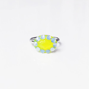 Dot Frame Ring -lemon yellow-