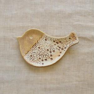 小鳥の豆皿(キャラメルA)
