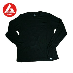 AMERICAN GIANT Heavyweight Longsleeve Pocket T-Shirt BLACK