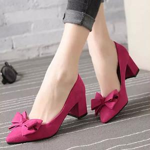 【shoes】パンプスエレガントシンプルリボン付き無地スエードファッション
