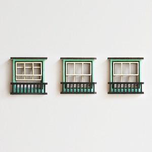 冷蔵庫がビルに。/緑色の窓のマグネット3個セット