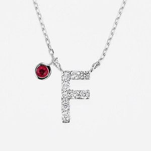 Initial K18WG Diamond【F】Pendant Necklace with Charm (ダイヤモンド イニシャル【F】ペンダントネックレス チャーム付き)