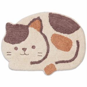 【CHATTE・シャット】猫ミニマット(アイボリー)【猫雑貨 インテリア】