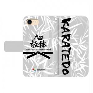 iPhone用:全日本空手道連盟認定 手帳型スマホケース L_空手道_笹