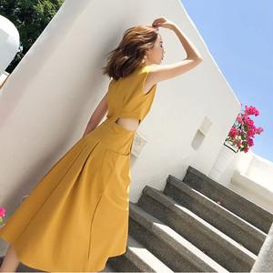 【ワンピース】ファッションノースリーブラウンドネックAライン透かし彫りワンピース30351664