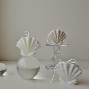 frill shell ceramic (mini) 3colors / ヴィンテージ オブジェ フリル シェル 貝殻 アロマ キャンドル 韓国 北欧