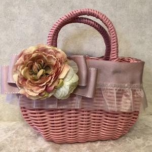 フリルとリボンのカゴバック ピンク お花