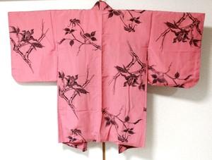 羽織 Haori 臙脂色・植物柄
