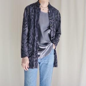see-through velours leaf pattern shirt / purple