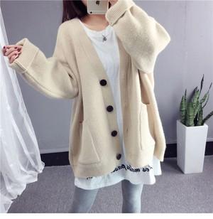 【アウター】売れ筋韓国版厚くするシングルブレストゆるいニットセーター