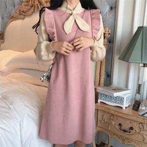 【ワンピース】春秋ファッション膝上ニットワンピース