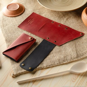421 Minimalist leather wallet / phone case Fragola Red
