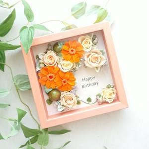 frame arrange 15cm角(オレンジフレーム オレンジジニア&オレンジ、イエローローズ)