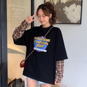 【トップス】韓国系長袖ラウンドネック切り替えTシャツ