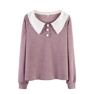 〈カフェシリーズ〉レースラペルセーター【lace lapel sweater】