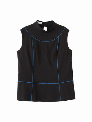 Colour line switched tops / black × blue / S16TP01