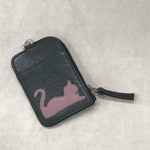パスケース(小銭入れ付き、猫柄、ブラック)No.03003-04
