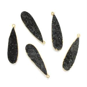 [天然石 パーツ]ドゥルージー1カン付ドロップ  1個(ブラック)D0136