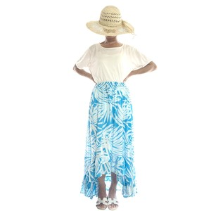 フィッシュテールロングスカート&ワンピース ヤシの葉 #light blue