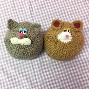 手編み アニマル キッズニット帽 L
