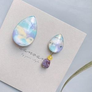 """ Earrings NO.danoan-134″ アシメマーブルペイントと天然石"