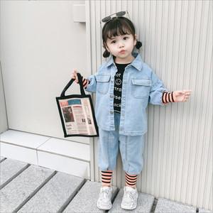 【セット】ボーダーデニム女の子オシャレカジュアル折り襟2点セット25724160