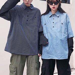 【トップス】配色カジュアルシングルブレストシャツ