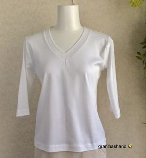5号VネックTシャツ 七分袖