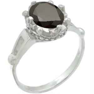 ブラックジルコニア シルバー ホワイト クラウン リング(指輪)*BR-1032BZ