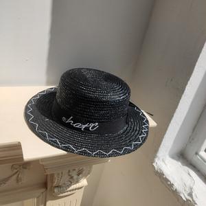 ロゴ入りストローカンカン帽
