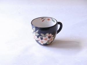 清水焼 土渕陶葊 作 黒塗り 桜 ミルク呑み マグカップ