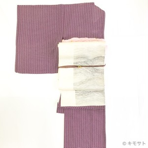 セット 亀甲網柄の夏キモノと金工の帯留(KC0006TT)