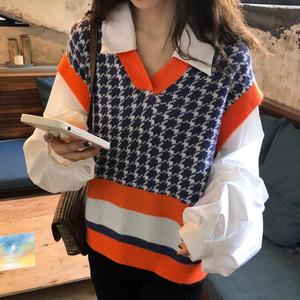 【トップス】韓国系気質レトロフェイクレイヤードゆったりポロネックシャツニットセーター23139403