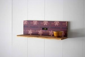 KOTAオリジナル 和柄L型飾り棚(和柄エンジ)棚板 壁収納 和柄 国産 木 杉 ハンドメイド 手作り 箱 収納 棚 小物 飾り棚 オリジナル